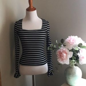 Square Neck Form Fitting Striped Tee